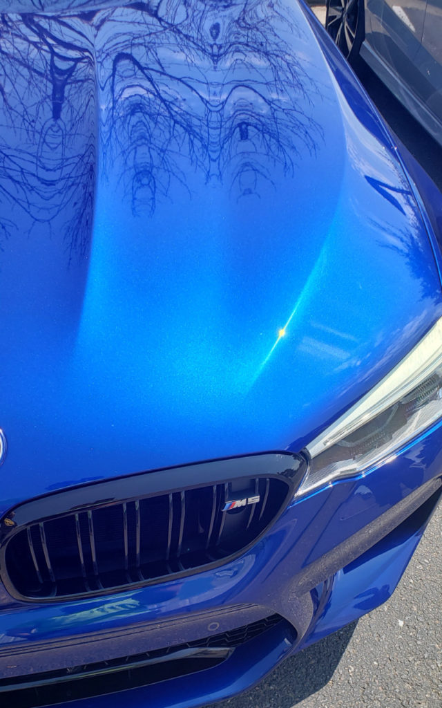 Powder coated blue car