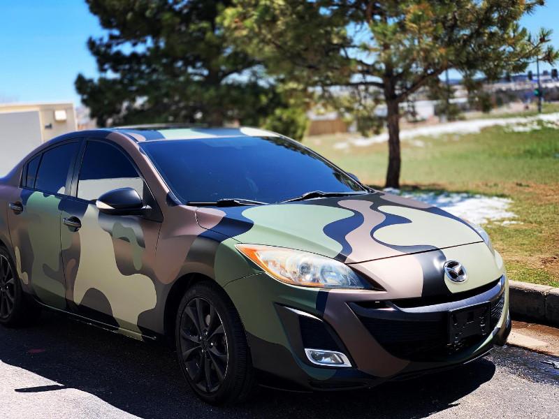 Camo style vinyl wrap on a Mazda