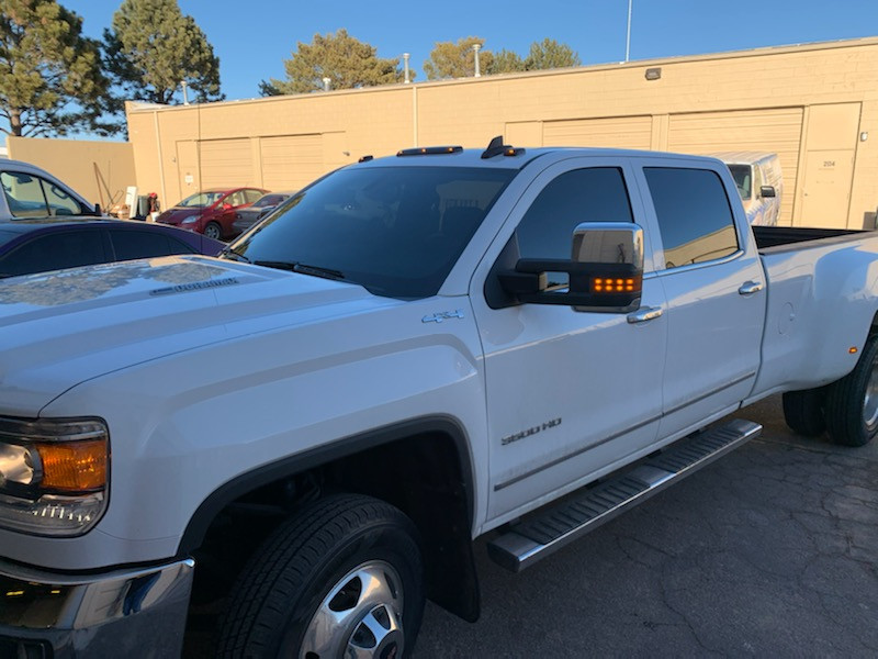 Tinted windows on a white truck